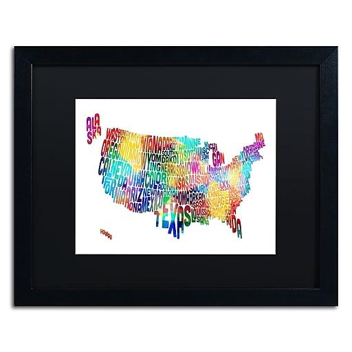 "Trademark Fine Art ''United States Typography Map 2'' by Michael Tompsett 16"" x 20"" Black Matted Black Frame (MT0513-B1620BMF)"