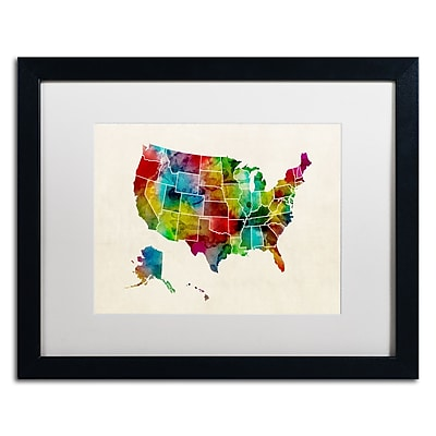Trademark Fine Art ''United States Watercolor Map 2'' by Michael Tompsett 16