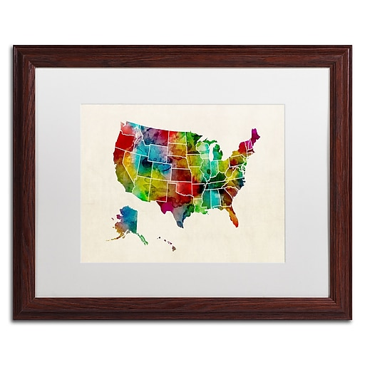 """Trademark Fine Art ''United States Watercolor Map 2'' by Michael Tompsett 16"""" x 20"""" White Matted Wood Frame (MT0514-W1620MF)"""