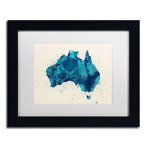 "Trademark Fine Art ''Australia Paint Splashes Map 2'' by Michael Tompsett 11"" x 14"" White Matted Black Frame (MT0516-B1114MF)"