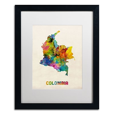 Trademark Fine Art ''Colombia Watercolor Map'' by Michael Tompsett 16