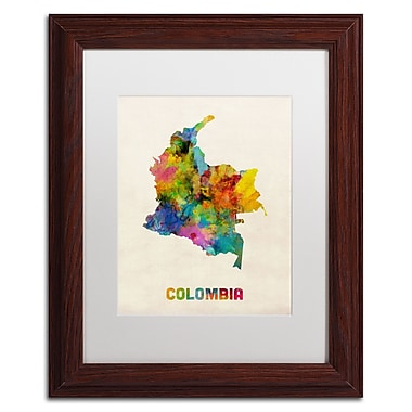 Trademark Fine Art ''Colombia Watercolor Map'' by Michael Tompsett 11