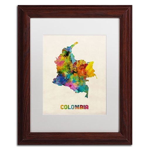 "Trademark Fine Art ''Colombia Watercolor Map'' by Michael Tompsett 11"" x 14"" White Matted Wood Frame (MT0518-W1114MF)"