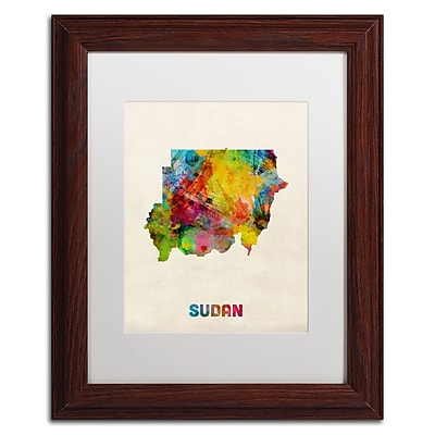 Trademark Fine Art ''Sudan Watercolor Map'' by Michael Tompsett 11