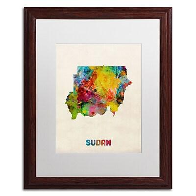 Trademark Fine Art ''Sudan Watercolor Map'' by Michael Tompsett 16