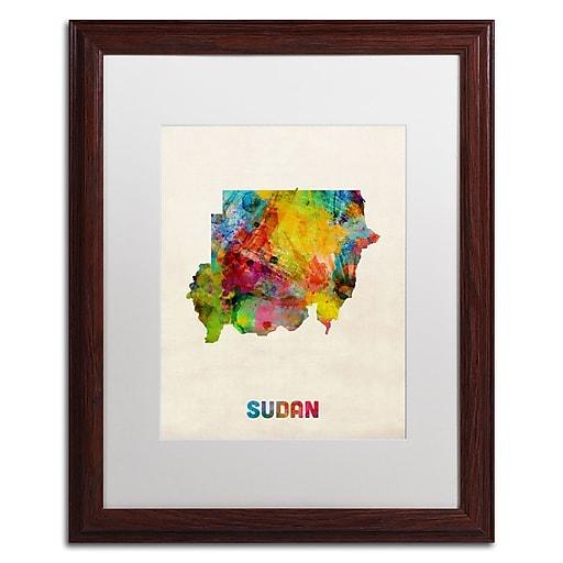 "Trademark Fine Art ''Sudan Watercolor Map'' by Michael Tompsett 16"" x 20"" White Matted Wood Frame (MT0519-W1620MF)"