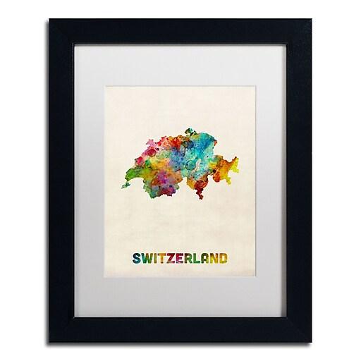 "Trademark Fine Art ''Switzerland Watercolor Map'' by Michael Tompsett 11"" x 14"" White Matted Black Frame (MT0520-B1114MF)"