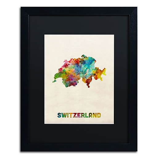 "Trademark Fine Art ''Switzerland Watercolor Map'' by Michael Tompsett 16"" x 20"" Black Matted Black Frame (MT0520-B1620BMF)"