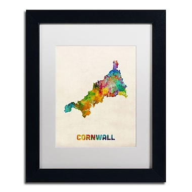 Trademark Fine Art ''Cornwall England Watercolor Map'' by Michael Tompsett 11