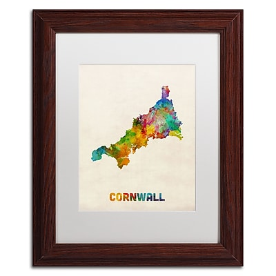 Trademark Fine Art ''Cornwall England Watercolor Map'' by Michael Tompsett 11
