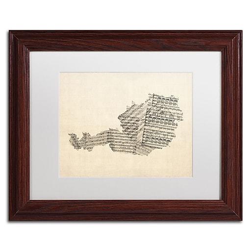 "Trademark Fine Art ''Old Sheet Music Map of Austria'' by Michael Tompsett 11"" x 14"" White Matted Wood Frame (MT0524-W1114MF)"