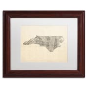 "Trademark Fine Art ''Sheet Music Map of North Carolina'' by Michael Tompsett 11"" x 14"" Wood Frame (MT0525-W1114MF)"