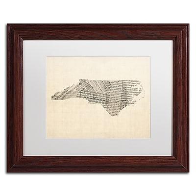 Trademark Fine Art ''Sheet Music Map of North Carolina'' by Michael Tompsett 11