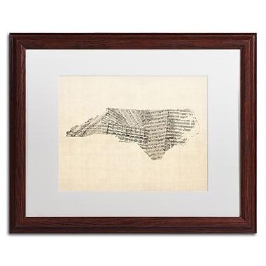Trademark Fine Art ''Sheet Music Map of North Carolina'' by Michael Tompsett 16