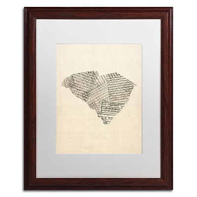 Trademark Fine Art ''Sheet Music Map of South Carolina'' by Michael Tompsett 16