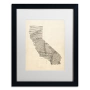 "Trademark Fine Art ''Old Sheet Music Map of California'' by Michael Tompsett 16"" x 20"" Black Frame (MT0527-B1620MF)"