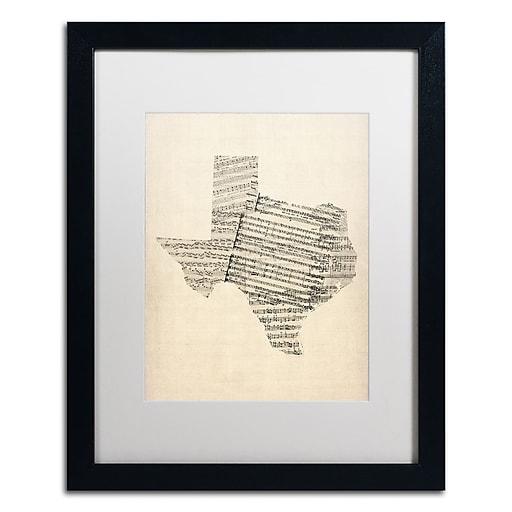 "Trademark Fine Art ''Old Sheet Music Map of Texas'' by Michael Tompsett 16"" x 20"" White Matted Black Frame (MT0528-B1620MF)"