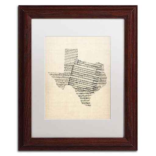 "Trademark Fine Art ''Old Sheet Music Map of Texas'' by Michael Tompsett 11"" x 14"" White Matted Wood Frame (MT0528-W1114MF)"