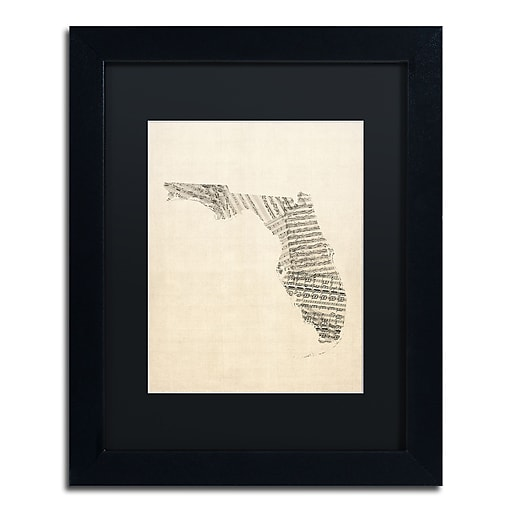 "Trademark Fine Art ''Old Sheet Music Map of Florida'' by Michael Tompsett 11"" x 14"" Black Matted Black Frame (MT0529-B1114BMF)"
