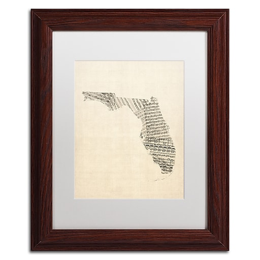 """Trademark Fine Art ''Old Sheet Music Map of Florida'' by Michael Tompsett 11"""" x 14"""" White Matted Wood Frame (MT0529-W1114MF)"""