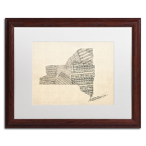 "Trademark Fine Art ''Old Sheet Music Map of New York'' by Michael Tompsett 16"" x 20"" White Matted Wood Frame (MT0530-W1620MF)"