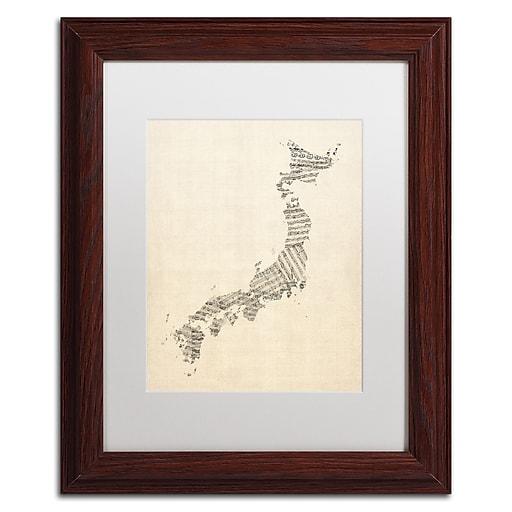 "Trademark Fine Art ''Old Sheet Music Map of Japan'' by Michael Tompsett 11"" x 14"" White Matted Wood Frame (MT0531-W1114MF)"