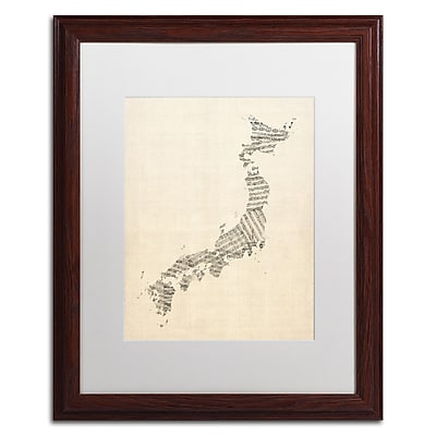 Trademark Fine Art ''Old Sheet Music Map of Japan'' by Michael Tompsett 16