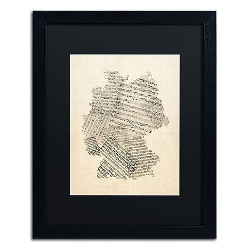 "Trademark Fine Art ''Old Sheet Music Map of Germany'' by Michael Tompsett 16"" x 20"" Black Matted Black Frame (MT0532-B1620BMF)"