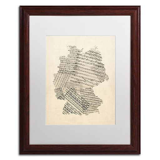 "Trademark Fine Art ''Old Sheet Music Map of Germany'' by Michael Tompsett 16"" x 20"" White Matted Wood Frame (MT0532-W1620MF)"