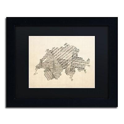 Trademark Fine Art ''Sheet Music Map of Switzerland'' by Michael Tompsett 11