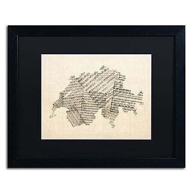 Trademark Fine Art ''Sheet Music Map of Switzerland'' by Michael Tompsett 16