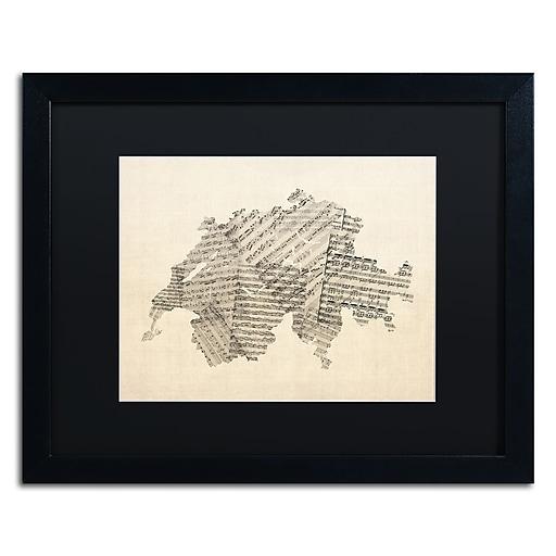 "Trademark Fine Art ''Sheet Music Map of Switzerland'' by Michael Tompsett 16"" x 20"" Black Matted Black Frame (MT0535-B1620BMF)"