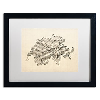 Trademark Fine Art ''Sheet Music Map of Switzerland'' by Michael Tompsett 16