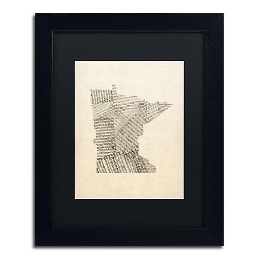 "Trademark Fine Art ''Old Sheet Music Map of Minnesota'' by Michael Tompsett 11"" x 14"" Black Frame (MT0538-B1114BMF)"