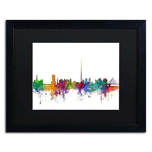 "Trademark Fine Art ''Dublin Ireland Skyline'' by Michael Tompsett 16"" x 20"" Black Matted Black Frame (MT0540-B1620BMF)"