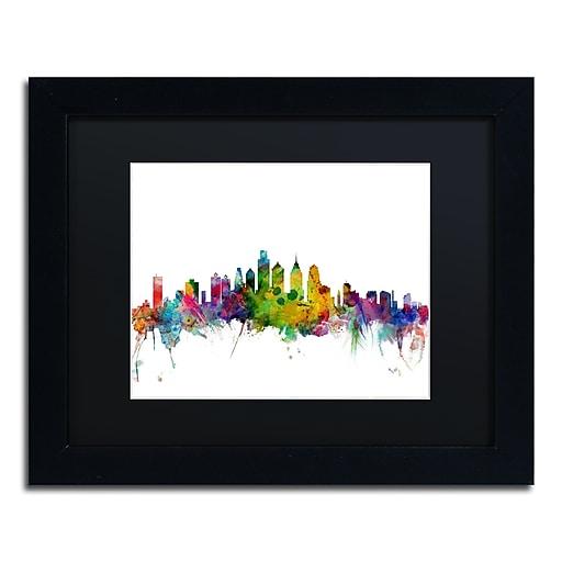 """Trademark Fine Art ''Philadelphia Pennsylvania Skyline'' by Michael Tompsett 11"""" x 14"""" Black Frame (MT0543-B1114BMF)"""