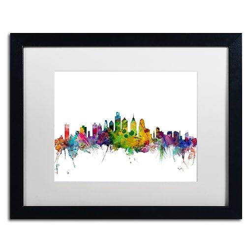 """Trademark Fine Art ''Philadelphia Pennsylvania Skyline'' by Michael Tompsett 16"""" x 20"""" Black Frame (MT0543-B1620MF)"""