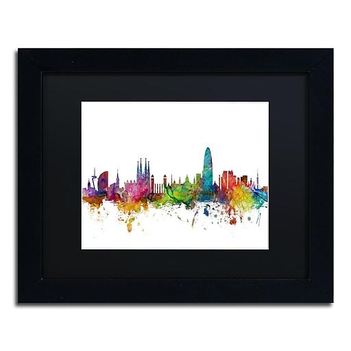 """Trademark Fine Art ''Barcelona Spain Skyline'' by Michael Tompsett 11"""" x 14"""" Black Matted Black Frame (MT0544-B1114BMF)"""
