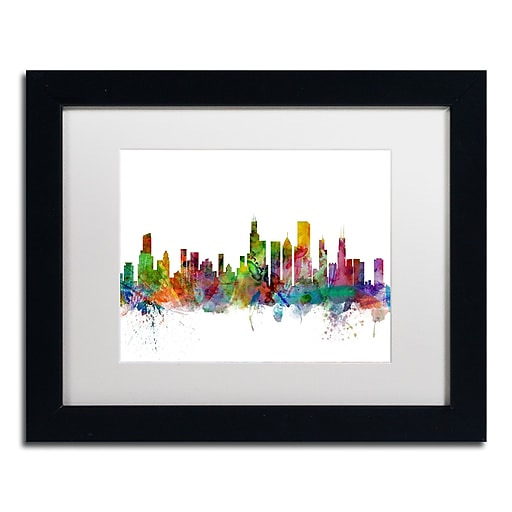 "Trademark Fine Art ''Chicago Illinois Skyline'' by Michael Tompsett 11"" x 14"" White Matted Black Frame (MT0545-B1114MF)"