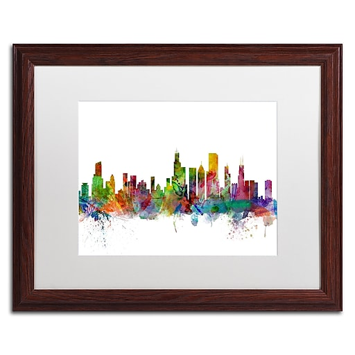 "Trademark Fine Art ''Chicago Illinois Skyline'' by Michael Tompsett 16"" x 20"" White Matted Wood Frame (MT0545-W1620MF)"