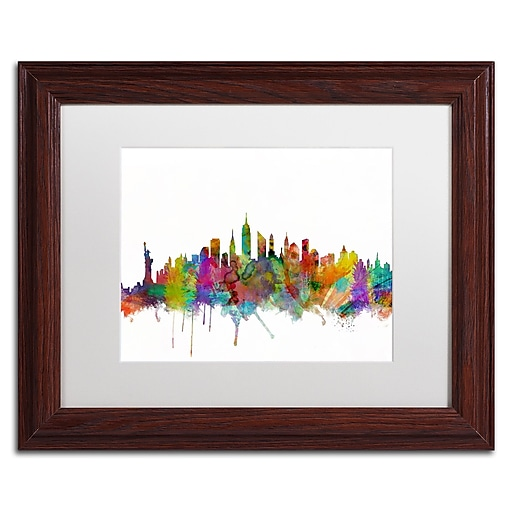 "Trademark Fine Art ''New York City Skyline'' by Michael Tompsett 11"" x 14"" White Matted Wood Frame (MT0546-W1114MF)"