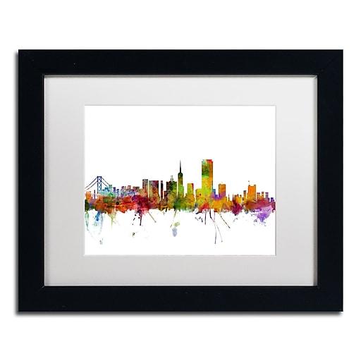 "Trademark Fine Art ''San Francisco City Skyline'' by Michael Tompsett 11"" x 14"" White Matted Black Frame (MT0547-B1114MF)"