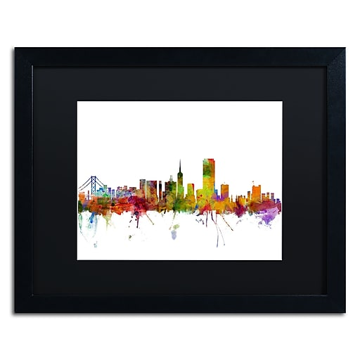 "Trademark Fine Art ''San Francisco City Skyline'' by Michael Tompsett 16"" x 20"" Black Frame (MT0547-B1620BMF)"
