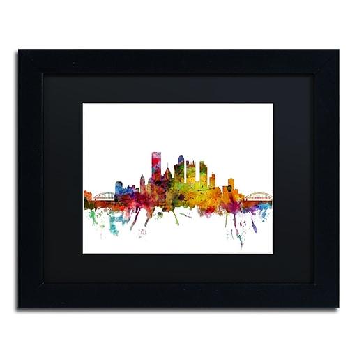 "Trademark Fine Art ''Pittsburgh Pennsylvania Skyline'' by Michael Tompsett 11"" x 14"" Black Matted Black Frame (MT0548-B1114BMF)"