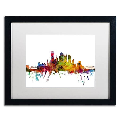 "Trademark Fine Art ''Pittsburgh Pennsylvania Skyline'' by Michael Tompsett 16"" x 20"" White Matted Black Frame (MT0548-B1620MF)"