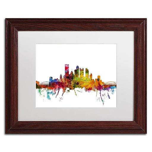 "Trademark Fine Art ''Pittsburgh Pennsylvania Skyline'' by Michael Tompsett 11"" x 14"" White Matted Wood Frame (MT0548-W1114MF)"