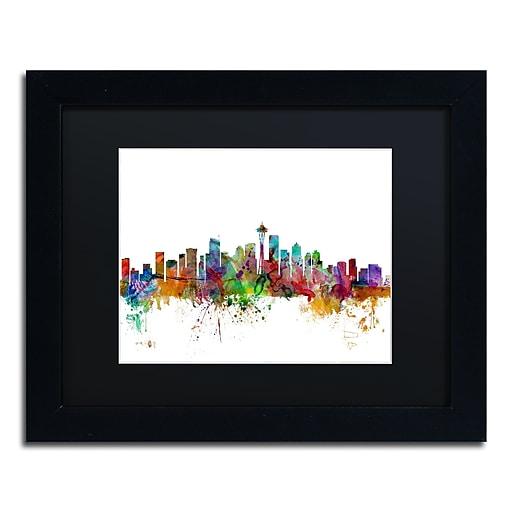 "Trademark Fine Art ''Seattle Washington Skyline'' by Michael Tompsett 11"" x 14"" Black Matted Black Frame (MT0549-B1114BMF)"