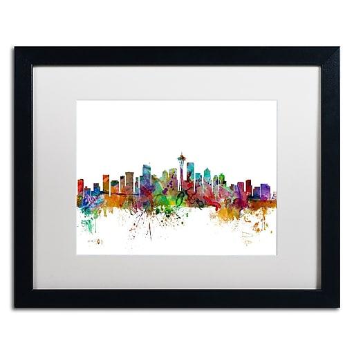 "Trademark Fine Art ''Seattle Washington Skyline'' by Michael Tompsett 16"" x 20"" White Matted Black Frame (MT0549-B1620MF)"