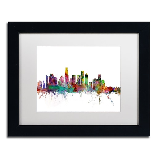 "Trademark Fine Art ''Los Angeles California Skyline'' by Michael Tompsett 11"" x 14"" White Matted Black Frame (MT0550-B1114MF)"