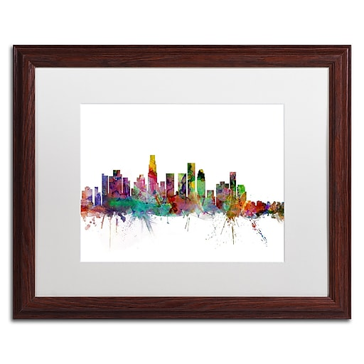 "Trademark Fine Art ''Los Angeles California Skyline'' by Michael Tompsett 16"" x 20"" White Matted Wood Frame (MT0550-W1620MF)"